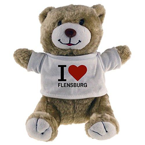 Multifanshop Kuscheltier Bär Classic I Love Flensburg beige - Stofftier Püschtier Schmusetier