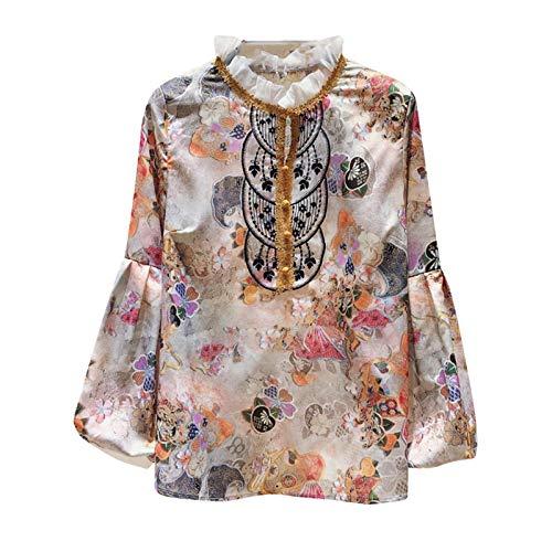 Camisa Floral de Las Mujeres de otoño de Larga Linterna de Manga Blusa de Gasa de la Dama Femenina de la Dama de la Dama de los Collares del Soporte L