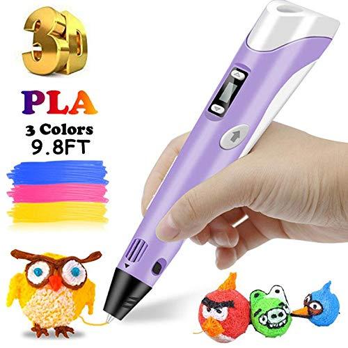 lesgos Stylo d'impression 3D Professionnel Pen, 9.8FT 3D Doodler Pen avec écran LCD, Stylo Dessin 3D avec recharges de Filament PLA de...