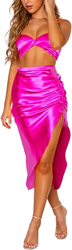 DREAM SLIM-Women's Sexy Halter Midi Dress Drawstring Side Slit Slip Satin Bodycon Dresses 2 Piece Outfits Dresses Crop Top