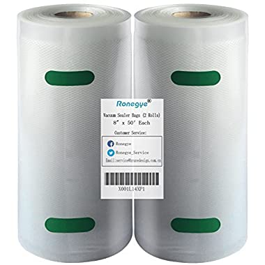 Upgraded Upgraded Upgraded Vacuum Sealer Storage Bags Rolls Embossed on Both-Sides with Commercial Grade for Food Saver, FDA Approved, BPA Free, 2 Rolls of 8  x 50' Each, (Total 100 Feet) (Clear)