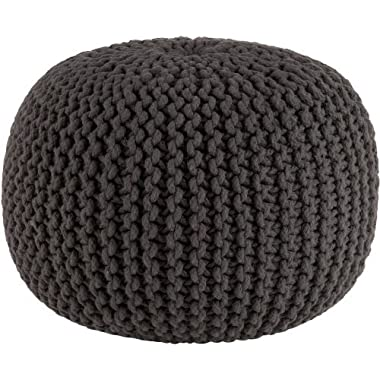 Cotton Craft Hand Knitted Cable Style Dori Pouf - Grey - Floor Ottoman - 100% Cotton Braid Cord - Handmade & Hand stitched - Truly one of a kind seating - 20 Dia x 14 High