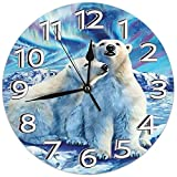 Archiba Reloj de Pared Lindo de los Osos Polares Relojes silenciosos sin tictac Relojes Decorativos con números arábigos Reloj Redondo Reloj de Escritorio silencioso de 25 cm