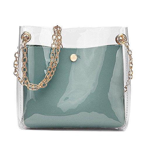Yimoll Handtasche aus PVC, transparent, für Damen, mit Schultertasche, für Frauen, Gelee, beliebt, klein, quadratisch, Farbe Bonbon, Persönlichkeit