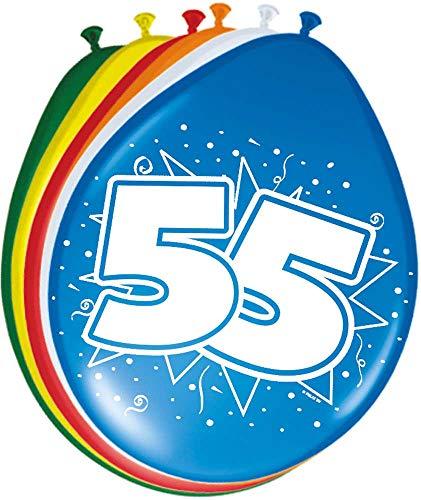 Folat 08226 55. Geburtstag Ballons 30 cm-8 Stück, Mehrfarbig