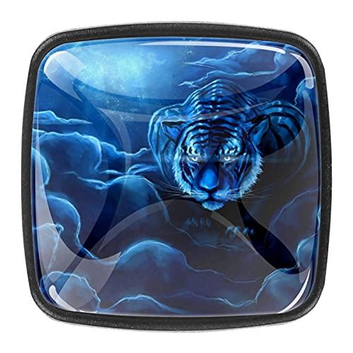 (4 piezas) pomos de cajón para cajones, tiradores de cristal para gabinete con tornillos para armario, hogar, oficina, armario, fantasía, tigre azul, 35 mm
