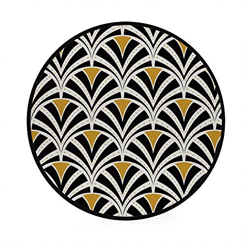 Lafle 91,4 cm runder Teppich Teppich Modern Anti-Rutsch Kreis Wohnzimmer Schlafzimmer Bad Art Deco Nahtlose Skala Muster traditionelle Küche Weiche Fußmatte Home Decor 92 cm x 92 cm