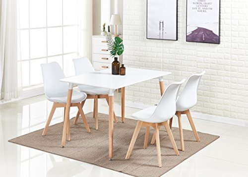 P&N Homewares Lorenzo Dining Table and 4 Chairs Set Retro and Modern Dining Set White Black and Grey Chairs with White Dining Table (WHITE CHAIRS)