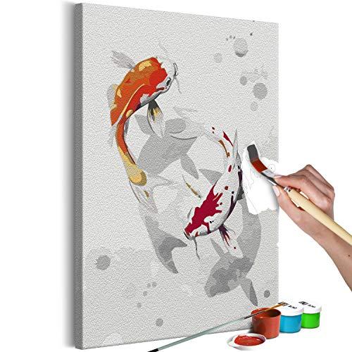 murando - Malen nach Zahlen Fische Tiere Abstrakt 40x60 cm Malset mit Holzrahmen auf Leinwand für Erwachsene Kinder Gemälde Handgemalt Kit DIY Geschenk Dekoration n-A-1266-d-a
