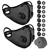 DIZZIICO 2 Pack Face Cover with Valve, Washable & Breathable Mouth Covering for Men Women