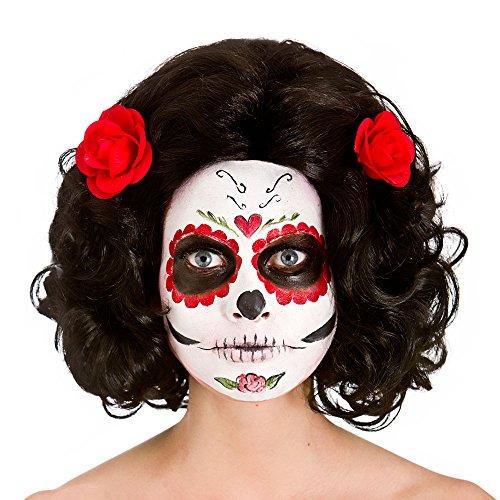 Ladies Day Of The Dead Senorita Wig Halloween Fancy Dress Accessory