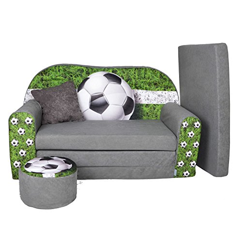FORTISLINE Kindersofa Kindercouch Aufklappen Bettfunktion + Hocker W319 Viele Muster (Football)