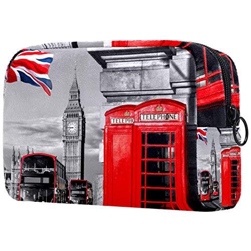 Regalos para Hombres Mujeres Estuche de Maquillaje Estuche para artículos de tocador Estuche pequeño para cosméticos - Cabina telefónica británica Big Ben
