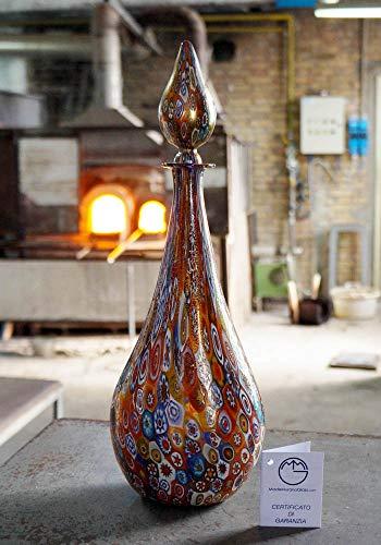 Flasche aus Muranoglas mit venezianischem murrina millefiori Glas