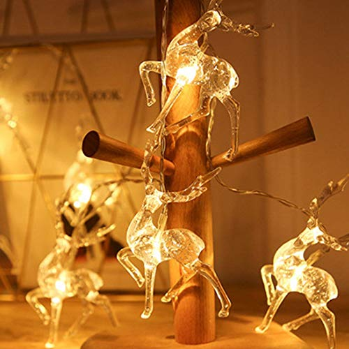 HUOFU Christmas Deer Shape String Lights, Battery Operated String Lights for Garden Christmas Tree, Christmas String Lights(Battery Model 10Lights)