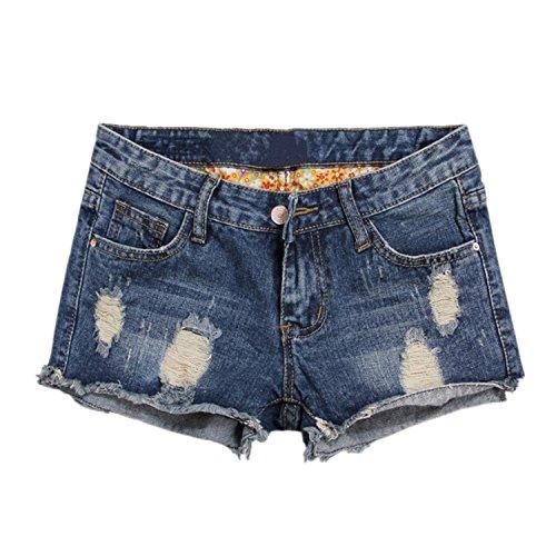 LAEMILIA Damen Sommer Shorts Zerrissen mit Löchern Jeansshorts Destoryed Freizeit Boyfriend Strand Denim