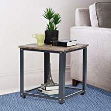 HOMY CASA End Table Coffee Tables Night Stand Industrial Wood 2 Tier Side Table Metal Storage Basket with Wheels