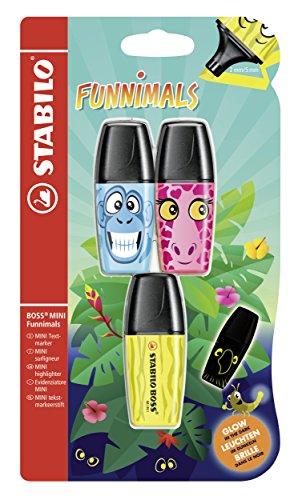 Textmarker - STABILO BOSS MINI Funnimals - 3er Pack - gelb, pink, blau