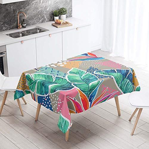 Mantel para Mesa Impermeable Antimanchas, Chickwin Floral tropical Impresion 3D Cocina Comedor Rectangular Resistente al Desgaste Lavable Mantel de Poliester (Punto,140x200cm)