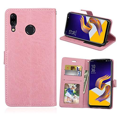 Asus Zenfone 5 2018 Hülle, SATURCASE Glatt PU Lederhülle Magnetverschluss Brieftasche Standfunktion Handy Tasche Schutzhülle Handyhülle Hülle für Asus Zenfone 5 ZE620KL/Zenfone 5z ZS620KL (Pink)