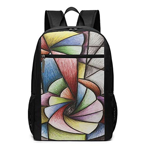 Schulrucksack Pastellmusik Gitarren Kubismus, Schultaschen Teenager Rucksack Schultasche Schulrucksäcke Backpack für Damen Herren Junge Mädchen 15,6 Zoll Notebook