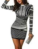 CHICME BEST SHOPPING DEALS Damen Gradient Farben Streifen Bodycon Mini Kleid Weiß L