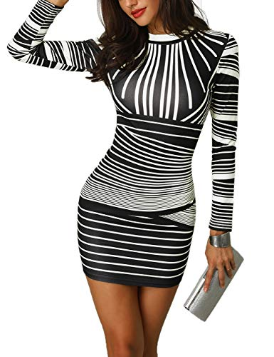 CHICME BEST SHOPPING DEALS Damen Gradient Farben Streifen Bodycon Mini Kleid Weiß S