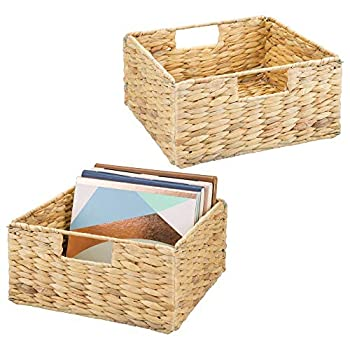 mDesign Natural Woven Hyacinth Closet Storage Organizer Basket Bin - Open Top Built-in Handles Collapsible - for Closet Bedroom Bathroom Entryway Office - 5.25  High 2 Pack - Natural/Tan