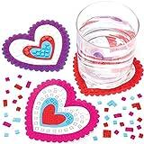 Baker Ross Kits Mosaicos Posavasos Corazón Set para niños (paquete de 6)