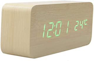 LuxSweet Wooden Multi-Functional Fashionable LED Smart Alarm Clock USB Interface Sound Control Alarm Clock Office Decoration Digital Alarm Clock Student Alarm Clock (Bamboo, 150x70x40mm)