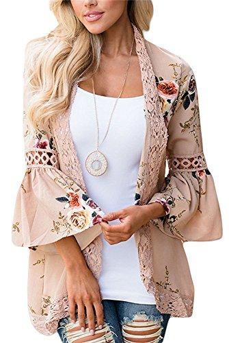Women 3/4 Sleeve Floral Print Kimono Cardigan Blouse Top(Khaki,XL)