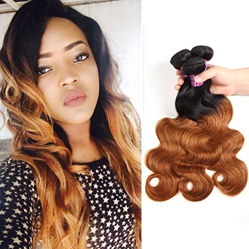 Ombre Brazilian Body Wave 3 Bundle, Color 1B/30 100% Unprocessed Virgin Human Hair Weave,10A Grade Dark Brown Ombre Brazilian Hair Extensions (18'20'22')