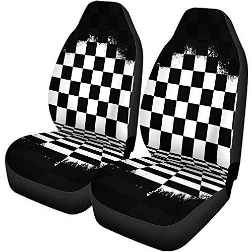 Autostoelhoezen Vlag Retro Zwart Wit geruit Torn Checkerboard Race Abstract Universal auto voorstoelbescherming