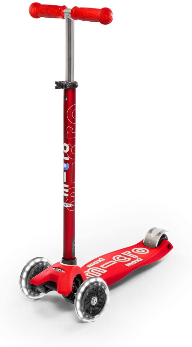 Micro Kickboard - Maxi Deluxe LED 3-Wheeled, Lean-to-Steer, Swiss-Designed Micro Scooter for Kids with LED Light-up Wheels, Ages 5-12