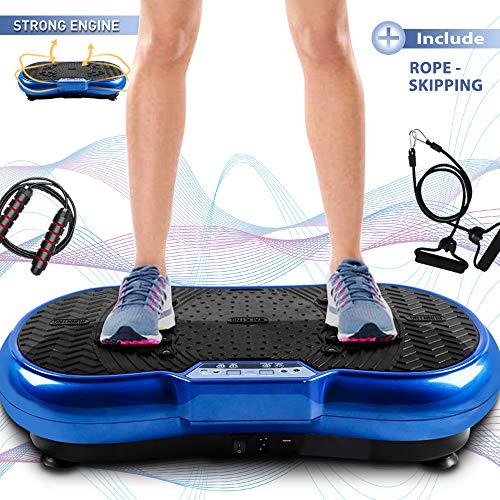 bigzzia Vibrationsplattform mit Seilspringen, Ganzkörpertraining Vibration Fitness Plattform Massagegerät für Heimtraining und Formen, 99 Stufen