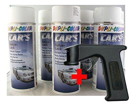 Dupli Color Car´s Lack Weiss matt 6X 400ml Dosen + Spraymaster 651953 + 703072