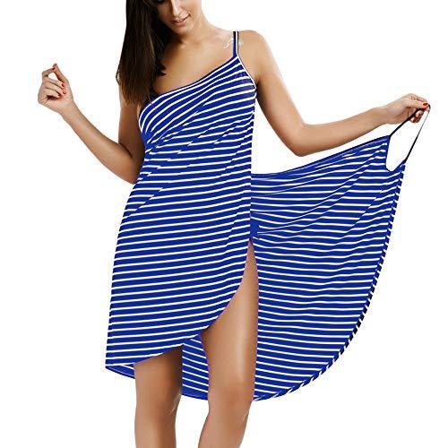 Dames Bikini Cover Up Spaghetti Strap Strand Jurk Wikkel Sarong Badpak Zomer Backless Zonnejurk Streep Strandkleding