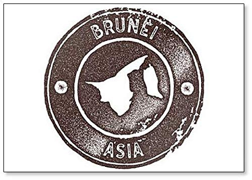 Azië, Brunei Map Vintage Stamp, Retro Stijl Illustratie Koelkast Magneet