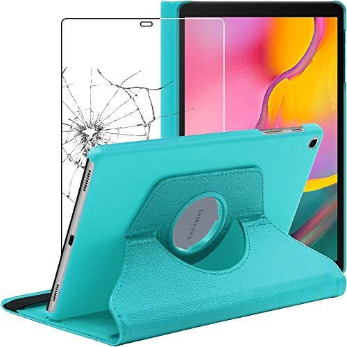 """ebestStar - Funda Compatible con Samsung Galaxy Tab A 10.1 2019 T515 Carcasa Cuero PU, Giratoria 360 Grados, Función de Soporte, Azul +Cristal Templado Pantalla [Tab: 245 x 149 x 7.5mm, 10.1""""]"""