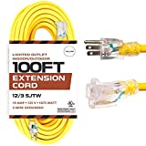100 Foot Outdoor Extension Cord - 12/3 SJTW Heavy Duty Yellow 3 Prong Extension Cable - Great for Garden and Major Appliances (100 Foot - Yellow)
