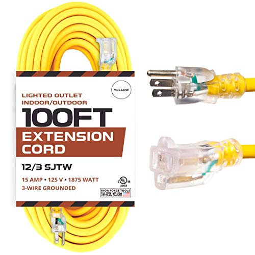 100 Foot Outdoor Extension Cord - 12/3 SJTW Heavy Duty Yellow 3 Prong Extension Cable - Great for...