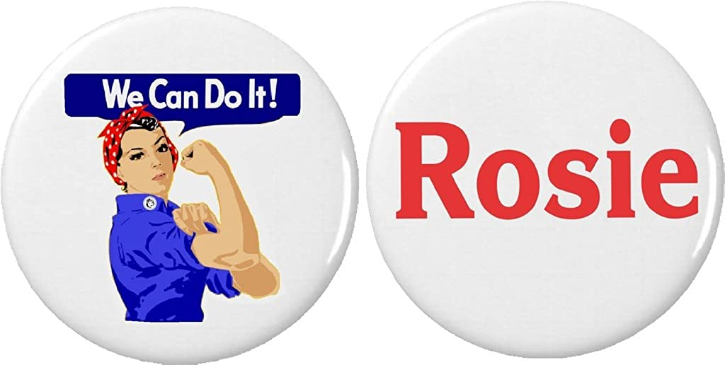 Set 2 We Can Large discharge sale Do It Superior the Rosie Pinback Riveter Pins Buttons