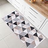 Fashion4Home Alfombra de pelo corto – Alfombra Boho Kelim alfombra de salón, dormitorio y cocina, alfombra de pasillo, alfombra de habitación de los niños, a cuadros grises: 80 x 150 cm