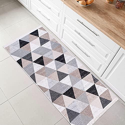 Fashion4Home Teppich Kurzflor - Boho Kelim Teppich, Wohnzimmerteppich, Schlafzimmer und Küchenteppich, Teppich Läufer, Flur Teppich, Kinderzimmerteppich Karo-Grau, Grüße: 80x150 cm