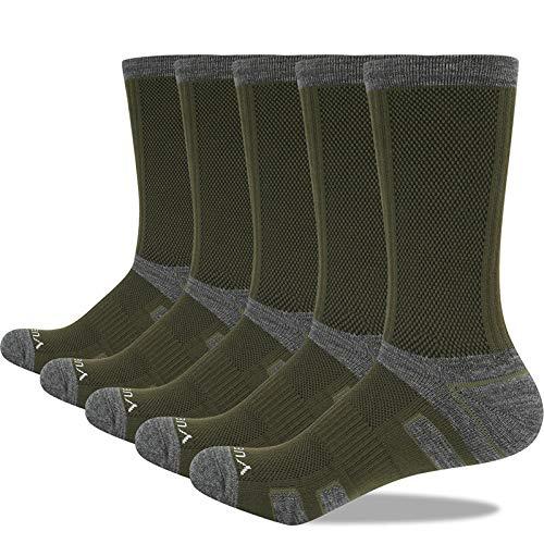 5 pares de calcetines de deporte al aire libre para hombre, toalla gruesa, tubo inferior, senderismo, escalada, baloncesto, correr, calcetines de algodón (verde militar, XL (42-46 tamaño))