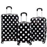 Rockland Laguna Beach Hardside Spinner Wheel Luggage, Black Dot, 3-Piece Set (22/24/28)