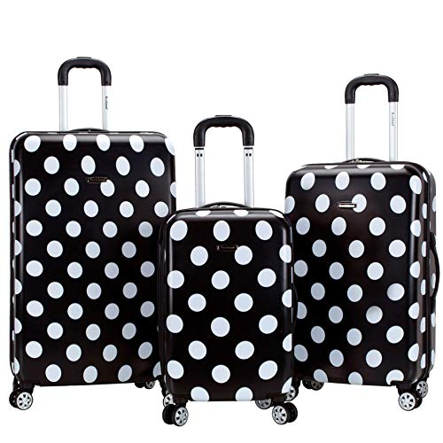 Rockland Laguna Beach Hardside Spinner Wheel Luggage, Black Dot, 3-Piece Set (22/24/28)