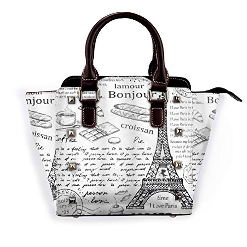 BROWCIN Paris Traditionelle berühmte Pariser Elemente Bonjour Croissan Kaffee Eiffelturm Druck Abnehmbare mode trend damen handtasche umhängetasche umhängetasche