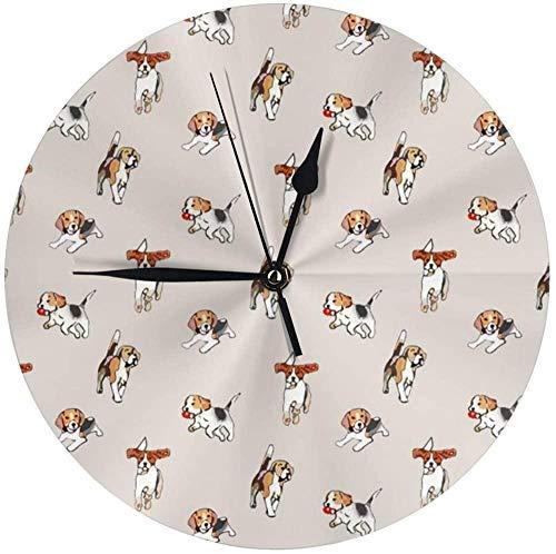 AZHOULIULIU Co.,ltd Beagles At Play Silent Round Desk Clock Cube Clock para Dormitorios Cocina