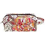 Bolsa de maquillaje con patrón étnico para mujeres, bolsa organizadora de cosméticos de viaje portátil con correa para la muñeca bolsas de aseo para mujeres